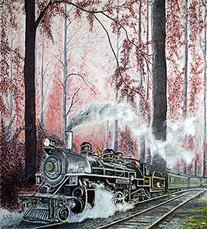 Old steam train in oils-original